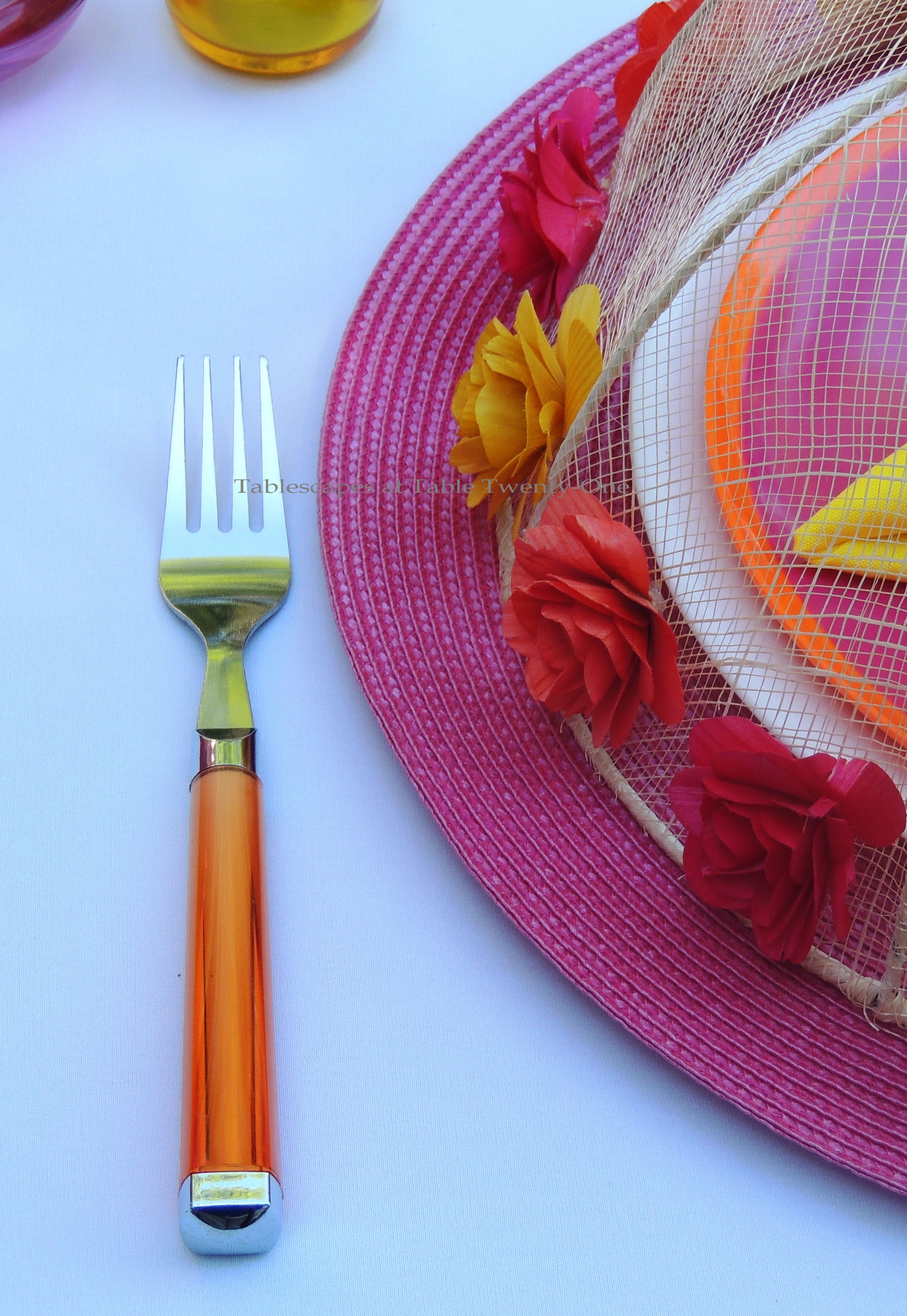 Tablescapes at Table Twenty-One, www.tabletwentyone.wordpress.com, Hot Fun in the Summertime! - orange acrylic flatware