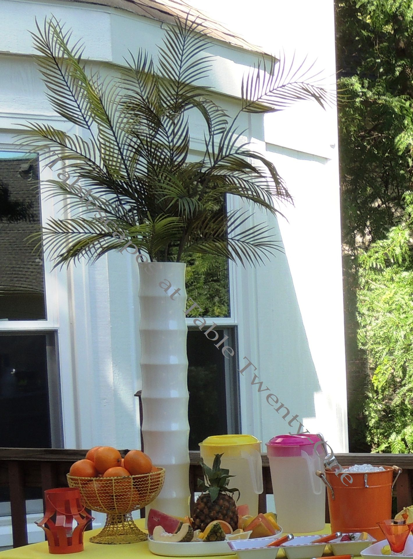 """Tablescapes at Table Twenty-One, www.tabletwentyone.wordpress.com, Hot Fun in the Summertime! - tropical """"palm tree"""" floral piece"""