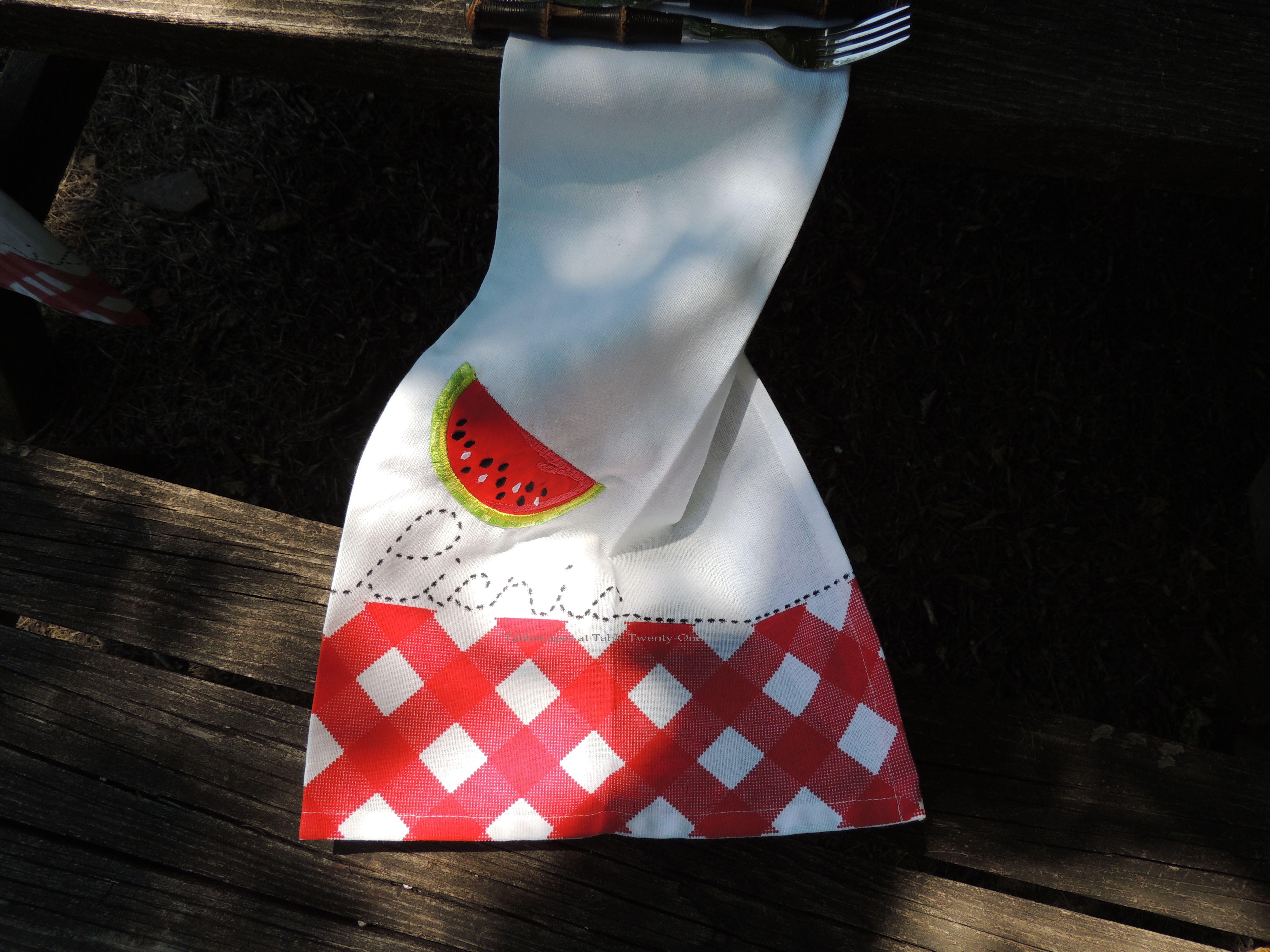 Tablescapes at Table Twenty-One, www.tabletwentyone.wordpress.com, Picnic Ants - Watermelon & ants picnic napkin