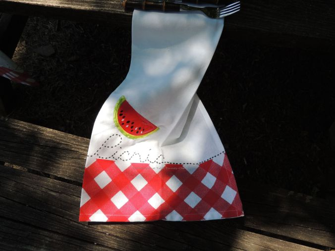Tablescapes at Table Twenty-One, www.tabletwentyone.wordpress.com, Picnic Ants - Watermelon & ants picnic napkin