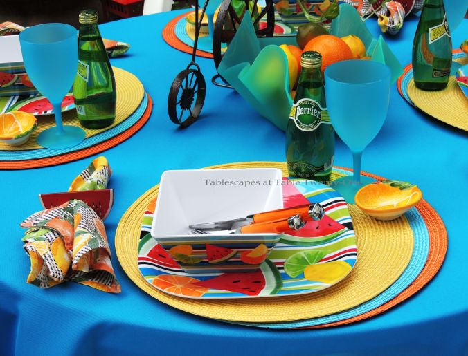 Tablescapes at Table Twenty-One, www.tabletwentyone.wordpress.com, Summer Fruits & Penny-farthings - Place setting