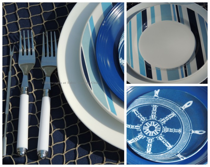 Tablescapes at Table Twenty-One, www.tabletwentyone.wordpress.com, Old Navy Seafood Boil - Flatware, individual plate collage