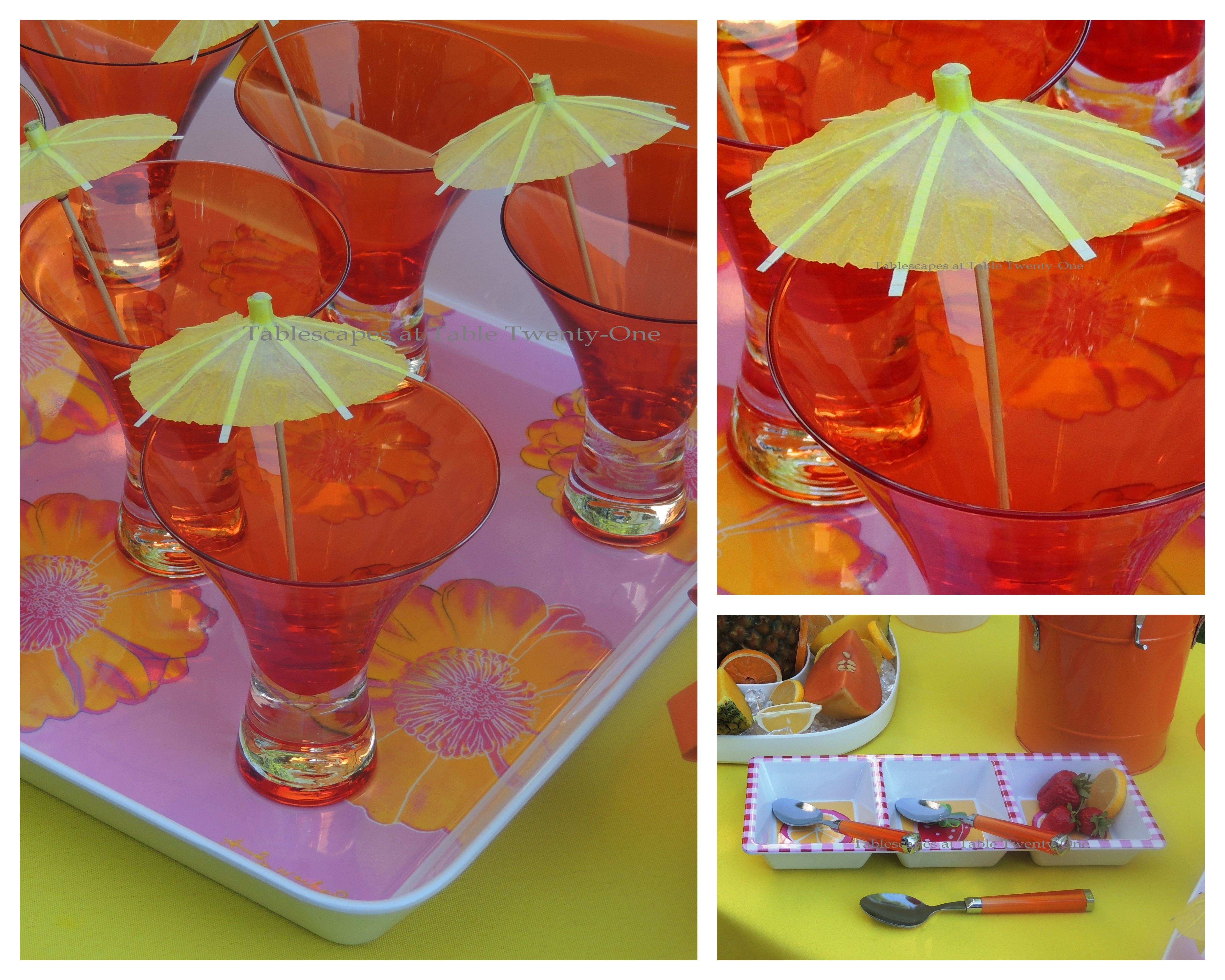 Tablescapes at Table Twenty-One, www.tabletwentyone.wordpress.com, Hot Fun in the Summertime! - Martini glasses with parasols, fruit tray collage