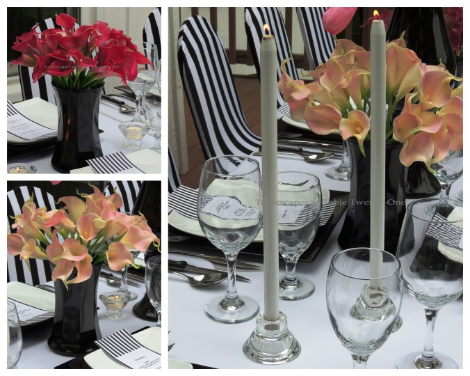 Tablescapes at Table Twenty-One, www.tabletwentyone.wordpress.com, Blurred Lines with Shades of Pink - Calla lilies and candlesticks collage