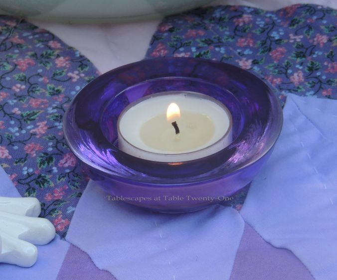 Tablescapes at Table Twenty-One, www.tabletwentyone.wordpress.com, Luscious Layers of Lavender: purple glass votive
