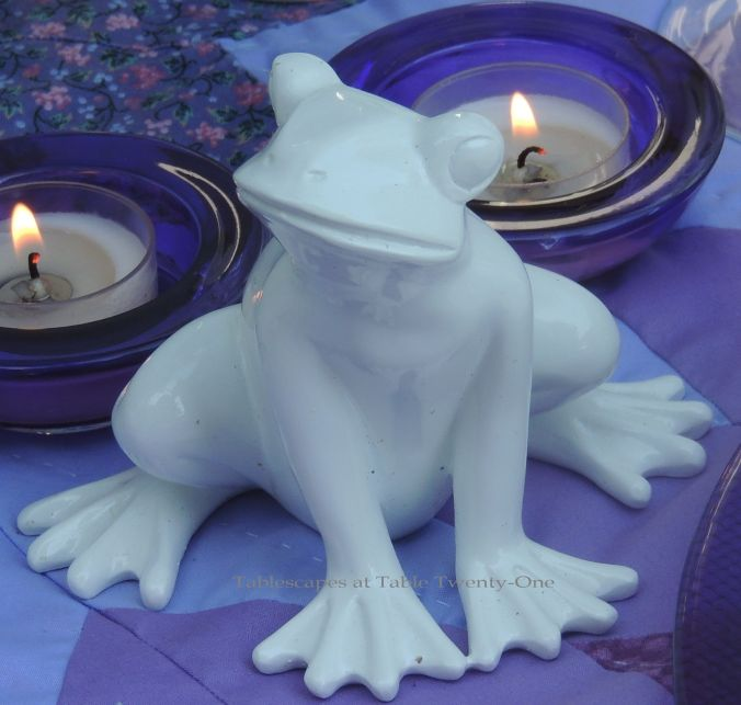 Tablescapes at Table Twenty-One, www.tabletwentyone.wordpress.com, Luscious Layers of Lavender: squatting ceramic white frog
