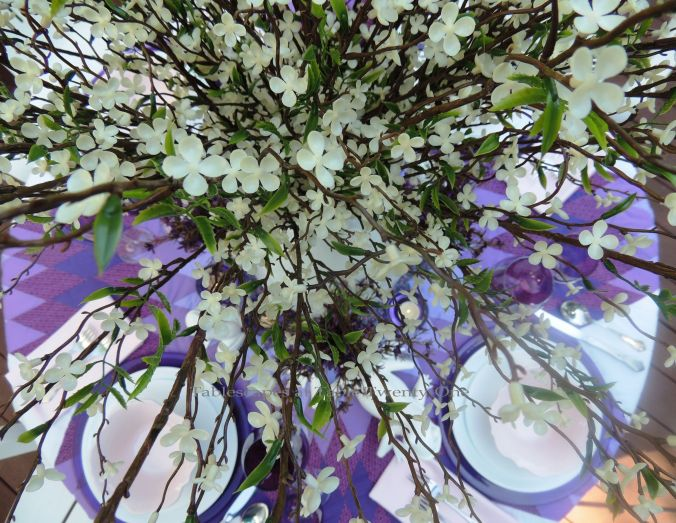 Tablescapes at Table Twenty-One, www.tabletwentyone.wordpress.com, Luscious Layers of Lavender: Centerpiece from overhead