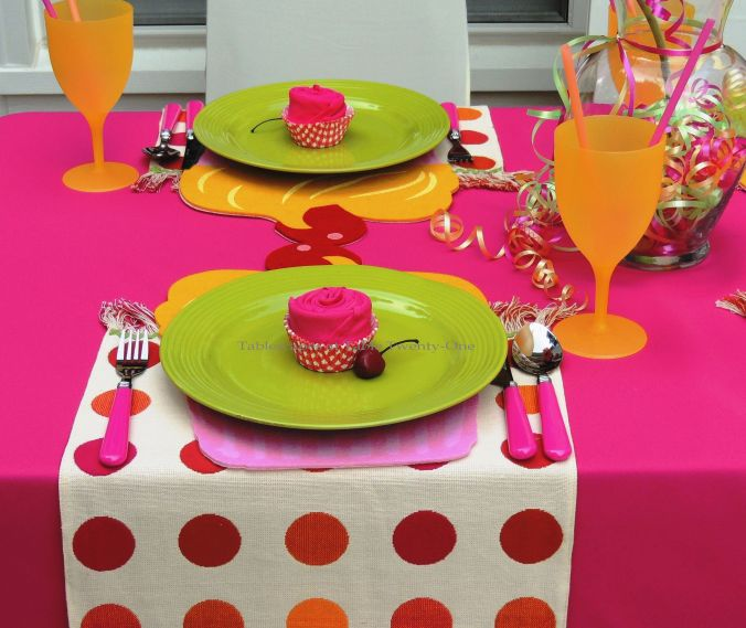 Tablescapes at Table Twenty-One, www.tabletwentyone.wordpress.com, Cupcake Colors - Place setting