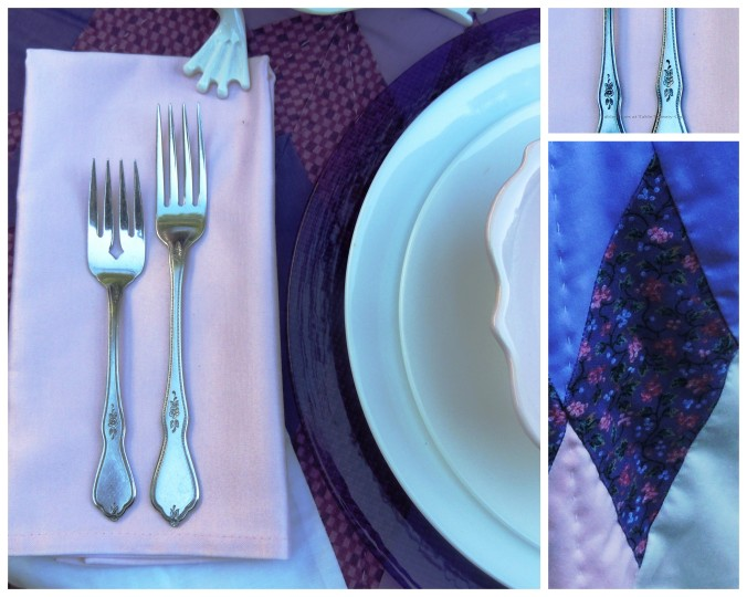 Tablescapes at Table Twenty-One, www.tabletwentyone.wordpress.com, Luscious Layers of Lavender: Flatware, flatware detailing, napkin collage