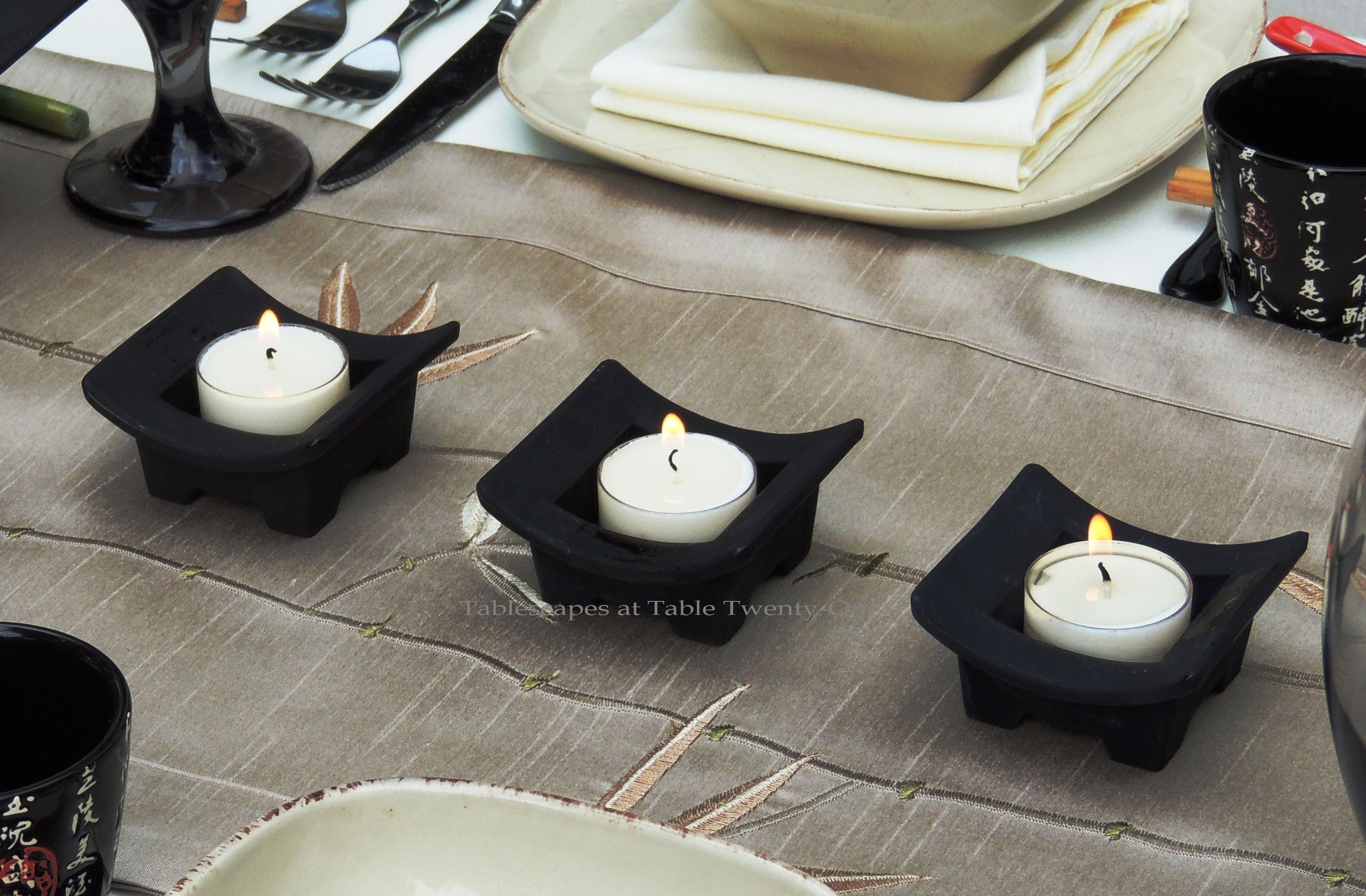 Tablescapes at Table Twenty-One, www.tabletwentyone.wordpress.com, Chinese Takeout: Black Asian-inspired votive holders