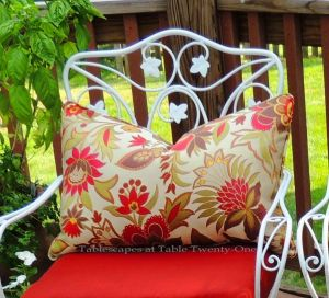 INSPIRATION: Beautiful floral toss pillows from Home Goods that usually hang out in our living room. The design worked well with the Asian theme.