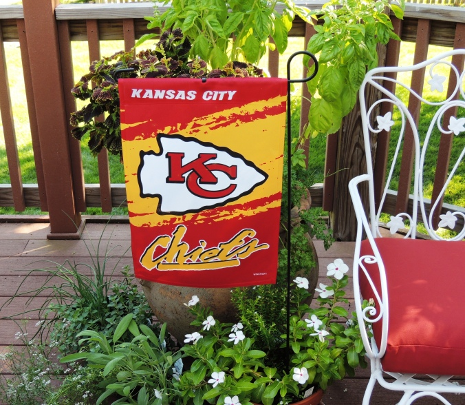 Tablescapes at Table Twenty-One, www.tabletwentyone.wordpress.com, Chiefs Pride: Kansas City Chiefs garden banner
