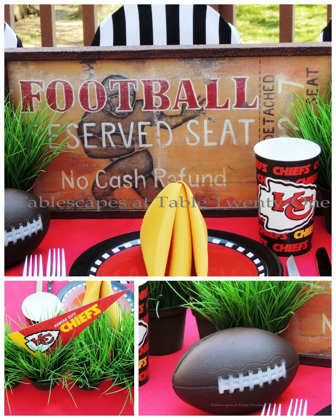 Tablescapes at Table Twenty-One, www.tabletwentyone.wordpress.com, Chiefs Pride: Football, pendant in grass, ticket sign collage