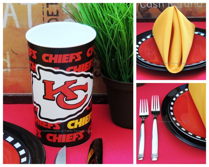 Tablescapes at Table Twenty-One, www.tabletwentyone.wordpress.com, Chiefs Pride: Napkin fold, Chiefs cup, flatware & rim shot collage