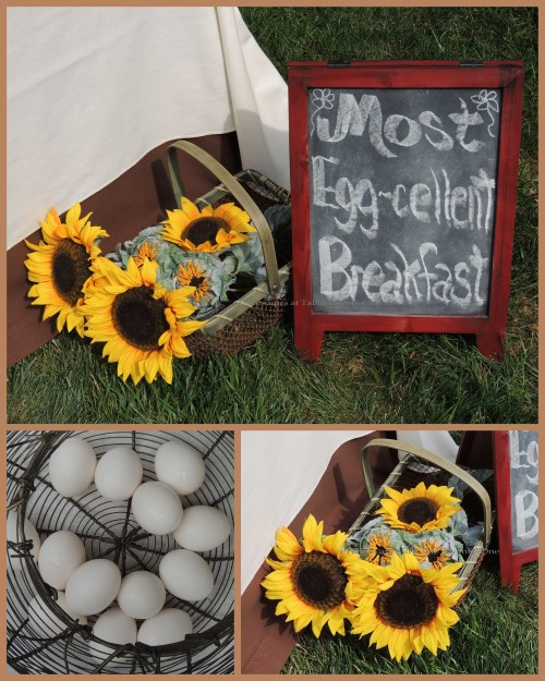 Tablescapes at Table Twenty-One, www.tabletwentyone.wordpress.com, Most Egg-cellent Fall Breakfast: Chalkboard signage, basket of sunflowers, eggs in wire basket collage
