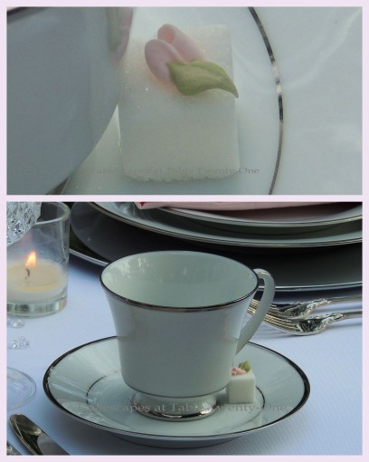 Tablescapes at Table Twenty-One, www.tabletwentyone.wordpress.com, Bald Is Beautiful: Cup & saucer, sugar cube collage