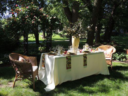 Tablescapes at Table Twenty-One, www.tabletwentyone.wordpress.com, Italian Honeysuckle: Full table in front of honeysuckle arbor
