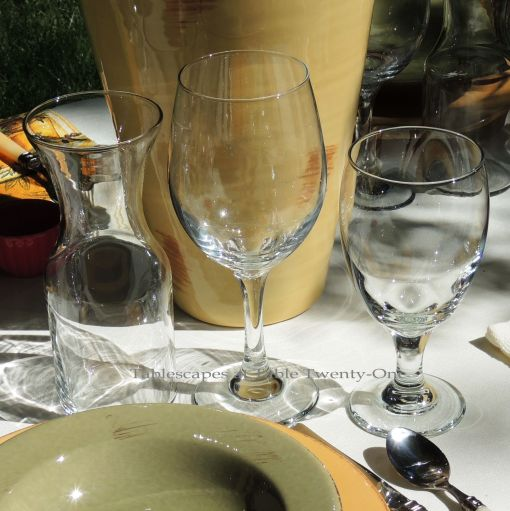 Tablescapes at Table Twenty-One, www.tabletwentyone.wordpress.com, Italian Honeysuckle: Stemware and personal wine carafe