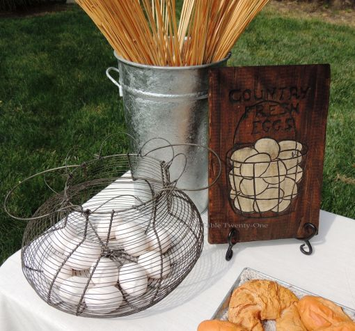 Tablescapes at Table Twenty-One, www.tabletwentyone.wordpress.com, Most Egg-cellent Fall Breakfast: Eggs in wire basket, wooden egg sign collage