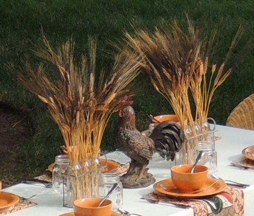 Tablescapes at Table Twenty-One, www.tabletwentyone.wordpress.com, Most Egg-cellent Fall Breakfast: Wheat and rooster centerpiece