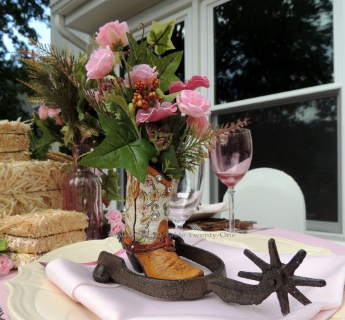 """Tablescapes at Table Twenty-One, www.tabletwentyone.wordpress.com, Breast Cancer Awareness Month: Pretty in Pink for the Cowgirl in You: Mini boot """"vase"""" with rusty iron spur"""