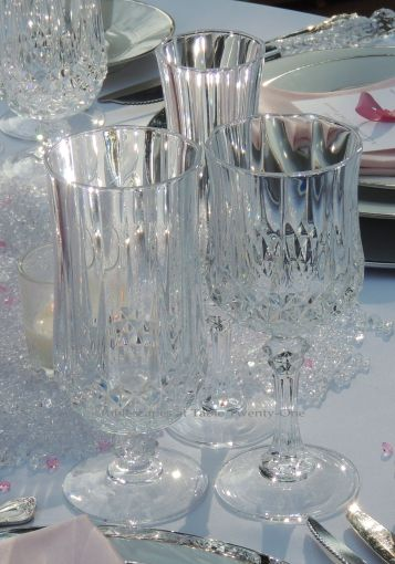 Tablescapes at Table Twenty-One, www.tabletwentyone.wordpress.com, Bald Is Beautiful: Cristal d'Arques Longchamps stemware