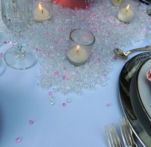 Tablescapes at Table Twenty-One, www.tabletwentyone.wordpress.com, Bald Is Beautiful: Votives in a sea of pink and clear crystals
