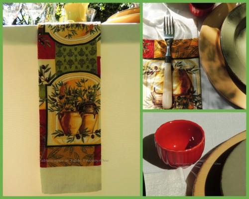 Tablescapes at Table Twenty-One, www.tabletwentyone.wordpress.com, Italian Honeysuckle: Flatware, oil dip bowl, napkin overhang collage