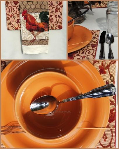 Tablescapes at Table Twenty-One, www.tabletwentyone.wordpress.com, Most Egg-cellent Fall Breakfast: Flatware, rooster tea towel napkin collage