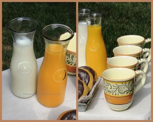 Tablescapes at Table Twenty-One, www.tabletwentyone.wordpress.com, Most Egg-cellent Fall Breakfast: Orange juice, milk, coffee mug collage