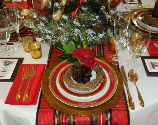 Alycia Nichols, Tablescapes at Table Twenty-One, www.tabletwentyone.wordpress.com, Tartan On the Tee – A Creekmoor Christmas: place setting with tartan runner, red & gold china