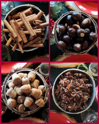 "Alycia Nichols, Tablescapes at Table Twenty-One, www.tabletwentyone.wordpress.com, ""Christmas in the Woods"": Anise, cinnamon stick, buckeye, acorn collage"