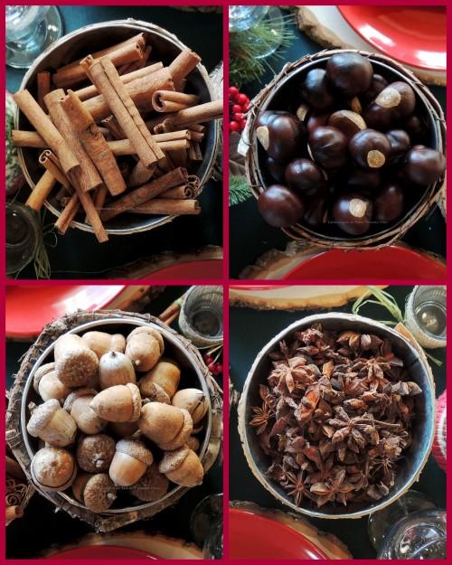 "Alycia Nichols, Tablescapes at Table Twenty-One, www.tabletwentyone.wordpress.com, ""Christmas in the Woods"": Anise, cinnamon stick, buckeye, acorn collage"