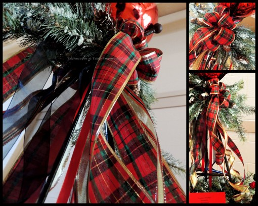 Alycia Nichols, Tablescapes at Table Twenty-One, www.tabletwentyone.wordpress.com, Tartan On the Tee – A Creekmoor Christmas: Centerpiece tartan ribbon and greenery collage