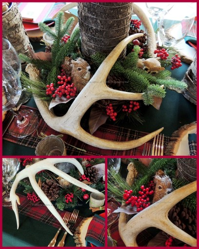 "Alycia Nichols, Tablescapes at Table Twenty-One, www.tabletwentyone.wordpress.com, ""Christmas in the Woods"": Centerpiece collage"