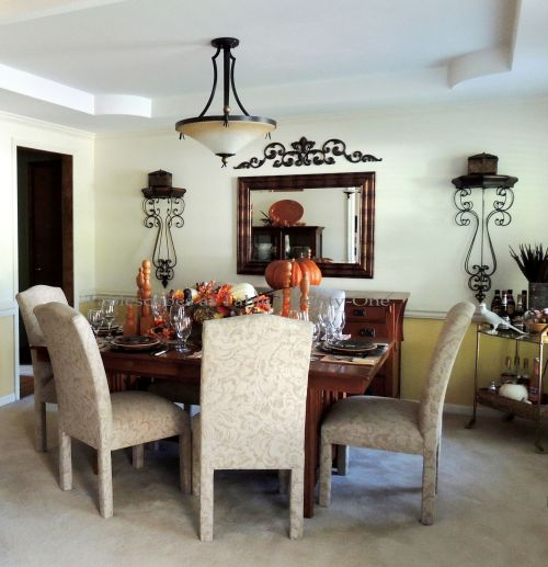 Alycia Nichols, Tablescapes at Table Twenty-One, www.tabletwentyone.wordpress.com, Pheasants & Pumpkins: Full dining room