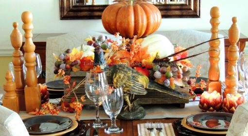 Alycia Nichols, Tablescapes at Table Twenty-One, www.tabletwentyone.wordpress.com, Pheasants & Pumpkins: Centerpiece