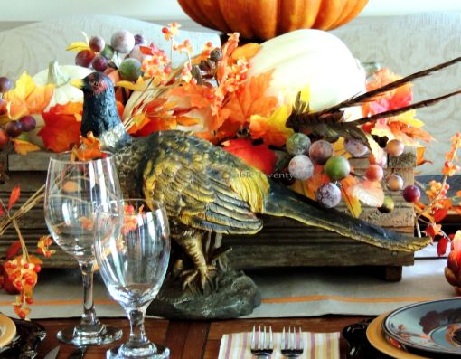 Alycia Nichols, Tablescapes at Table Twenty-One, www.tabletwentyone.wordpress.com, Pheasants & Pumpkins: Resin pheasant
