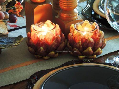 Alycia Nichols, Tablescapes at Table Twenty-One, www.tabletwentyone.wordpress.com, Pheasants & Pumpkins: artichoke votive holders