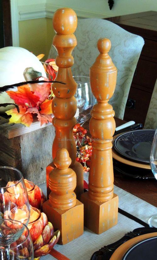 Alycia Nichols, Tablescapes at Table Twenty-One, www.tabletwentyone.wordpress.com, Pheasants & Pumpkins: pumpkin orange wood finials