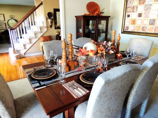 Alycia Nichols, Tablescapes at Table Twenty-One, www.tabletwentyone.wordpress.com, Pheasants & Pumpkins: Full table