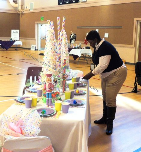 "Alycia Nichols, Tablescapes at Table Twenty-One, www.tabletwentyone.wordpress.com, ""Confectionery Christmas"" – Ebony Smith-Jackson of EAJ Events helping out"