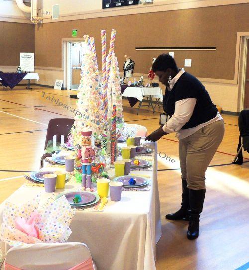 "Alycia Nichols, Tablescapes at Table Twenty-One, www.tabletwentyone.wordpress.com, ""Confectionery Christmas"" – Ebony Smith-Jackson of EAJ Events helping out"