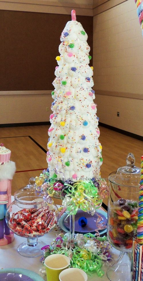"Alycia Nichols, Tablescapes at Table Twenty-One, www.tabletwentyone.wordpress.com, ""Confectionery Christmas"" – ""marshmallow"" Christmas tree"