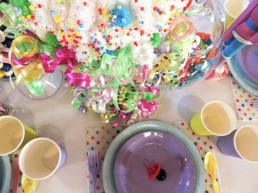 "Alycia Nichols, Tablescapes at Table Twenty-One, www.tabletwentyone.wordpress.com, ""Confectionery Christmas"" – curling ribbon ""tree skirt"""