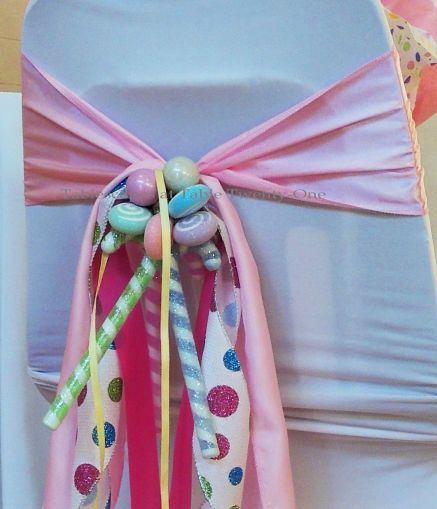 "Alycia Nichols, Tablescapes at Table Twenty-One, www.tabletwentyone.wordpress.com, ""Confectionery Christmas"" – ribbon, candy & ornament chair swag"