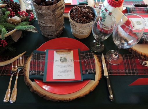 "Alycia Nichols, Tablescapes at Table Twenty-One, www.tabletwentyone.wordpress.com, ""Christmas in the Woods"":  Place setting with wood slice charger, tartan ribbon, natural elements"