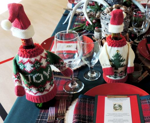"Alycia Nichols, Tablescapes at Table Twenty-One, www.tabletwentyone.wordpress.com, ""Christmas in the Woods"": Christmas sweaters on wine bottles"