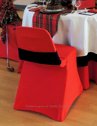 Alycia Nichols, Tablescapes at Table Twenty-One, www.tabletwentyone.wordpress.com, Tartan On the Tee – A Creekmoor Christmas: Banquet chair with red stretch chair cover & black stretch sash from LinenTablecloth.com