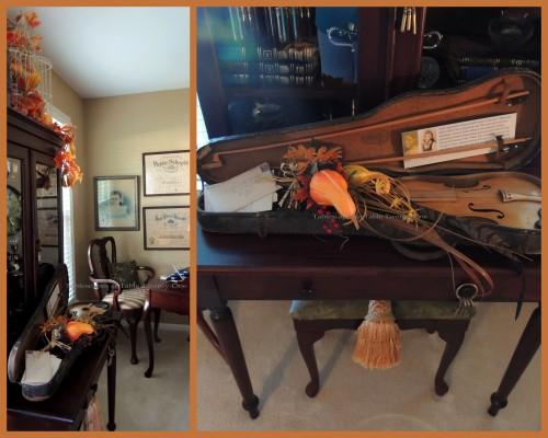 Alycia Nichols, Tablescapes at Table Twenty-One, www.tabletwentyone.wordpress.com, Pheasants & Pumpkins: Fall arrangement in violin case in library collage